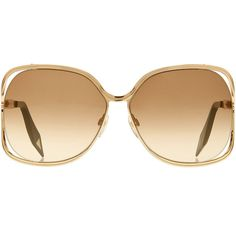 VICTORIA BECKHAM EYEWEAR Metal Butterfly Sunglasses ($559) ❤ liked on Polyvore featuring accessories, eyewear, sunglasses, glasses, jewelry, lentes, over sized sunglasses, metal glasses, oversized eyewear and butterfly glasses