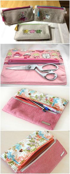 Free sewing pattern - the Gemini double wallet. I use mine for carrying my scissors and basic sewing supplies to class, but this double wallet is ideal for so much more! Love the embroidery options - very smart.