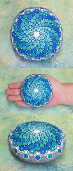 Mandala Stone (Large) by Kimberly Vallee: Hand painted with acrylic and protected with a matt finish.