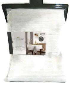 Threshold Tablecloth Oblong Cream Metallic Gold Silver 60 x 104 New  #Threshold