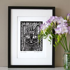 Cat Linocut Print by artyadz on Etsy, £7.95