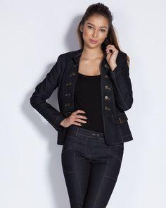 Вталено дамско сако-яке от тъмносин деним с копчета - Corny Дамска жилетка с шал-яка и коланче - сиво-синя - Mono #Efrea #Ефреа #online #онлайн #пазаруване #дрехи #сако