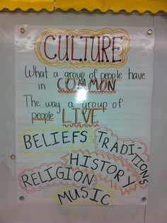 4th grade- I would keep this anchor chart up throughout a culture unit to remind students of what a culture is