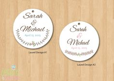 Spring Laurel Circle Wedding Tags - Cute Little Design for wedding gifts & favors - Hole Punched and Customized w/ Your Names - 50 Cards. $15.00, via Etsy.