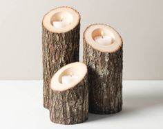 Tree branch candle holder. Rustic wood candle di WoodaCooda