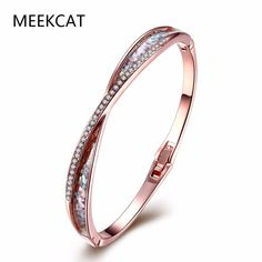 95af3bd00ce MEEKCAT High Quality Rhinestone Crystal Bangle amp Bracelet for Women Men  Rose Gold color Exquisite Made