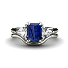 14K Blue Sapphire Engagement Ring Wedding Band by RareEarth, $1,100.00