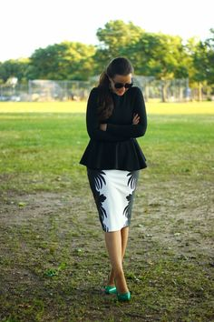 The Style Addition: Black and White Skirt + Colored Pumps