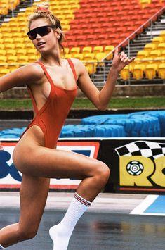 Meredith Mickelson by Brydie Mack MQ Photo Shoot Bamba Swim, Meredith Mickelson, Baywatch, Summer Photography, Cherry Red, Long Legs, Monokini, Female Models, Swimming