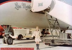 {*Elvis's little girl (Lisa Marie Presley Photo) growing up standing in front ov the plane her dad named after her the Lisa Marie*}