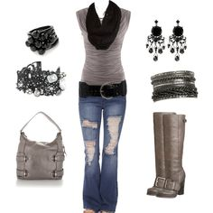 Casual grays cute fashion, fashion outfits, womens fashion, jean outfits, c Fashion Mode, Cute Fashion, Look Fashion, Fashion Outfits, Womens Fashion, Fall Fashion, Mode Style, Style Me, Fall Outfits