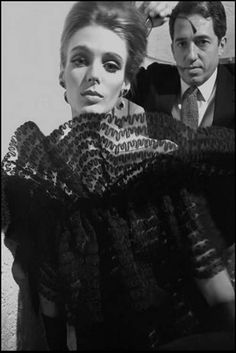 Model Deborah Dixon wearing Italian couture with playwright Giuseppe Patroni Griffi for Harpers Bazaar, Rome, 1962.  Photo by Frank Horvat.