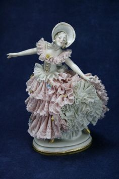 Antique GERMAN DRESDEN LACE PORCELAIN Figurine Victorian Lady Dancing - LOVELY! #Victorian