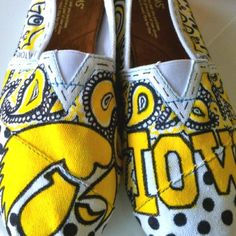 Iowa Hawkeye Toms..... I can't decide if I like these or not.  I never thought I'd be caught in a pair of Toms.