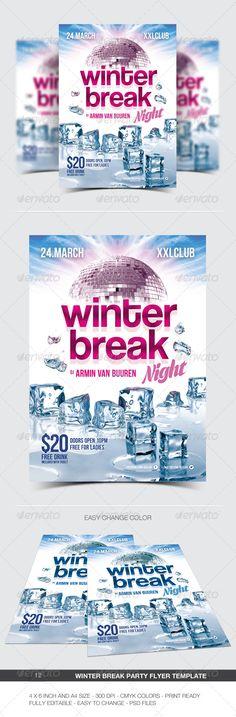 Winter Break Party Flyer / Poster - 12 #a4 #blue #break #christmas #club #concert #dance #disco #dj #electro #electronic #event #flyer #frozen #ice #melting #minimal #modern #music #night #nightclub #party #poster #print #snow #white #winter #winter night #xmas #winterbreak #ice