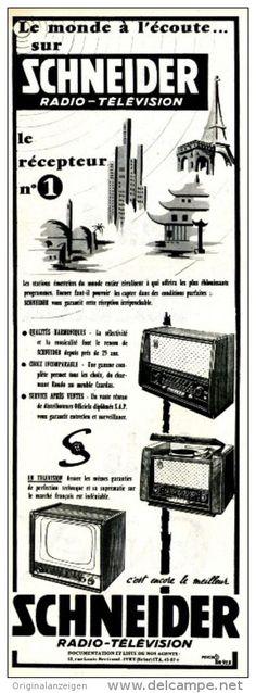 Original-Anzeige / Publicité 1957 - (en français)  SCHNEIDER RADIO / TÉLÉVISION  - ca. 110 x 320 mm