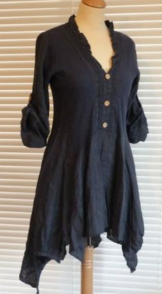 Fabulous Lagenlook Italian Linen Button Through Quirky Tunic Style Top RSP £49 | eBay
