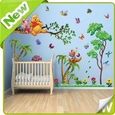 Winnie The Pooh Palm Tree Wall Stickers Gift Childrens Kids Nursery Decor Decals