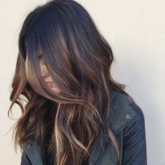 Dark brown hair with caramel highlights by earline
