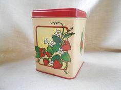 Vintage Strawberries Tin 1983 Gift box, Organizer, Tea bag tin by MissMarigolds