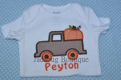 Monogrammed Pumpkin and Truck Shirt or Onesie by JadabugBoutique, $20.00