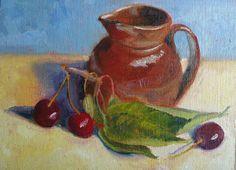 Cerises avec pichet  (original oil painting by Rebecca Stebbins)
