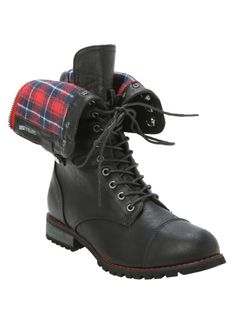 Black combat style boots with red plaid lining, fold over detailing, back zipper and lace-up closure.