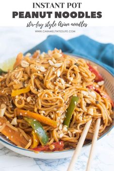 Delicious stir-fry style noodles in a peanut butter-garlic-chili sauce. So much better than regular takeout! Made in under 30 mins. #peanut #noodles #stirfry #instantpotnoodles Instant Pot Pasta Recipe, Best Instant Pot Recipe, Instant Pot Dinner Recipes, Peanut Sauce Stir Fry, Pastas Recipes, Noodle Recipes, Easy Indian Recipes, Quick Recipes, Delicious Recipes