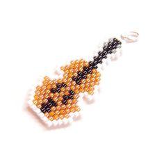 Violin Charm/Pendant, Brick Stitch Beadweaving, Musical Instrument Jewelry