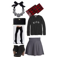 """""""Let your shirt do the talking..."""" by branded-babe on Polyvore; Graphic tees say it all. """"comment ça va?"""" Bien. Add a stretchy gray skater skirt, thigh high socks and #stevemadden booties. Add a #plaid scarf and a statement necklace. #holidayoutfit #HolidayParty #holidayaccessories #Christmas Thigh High Socks, Thigh Highs, Winter Ootd, Holiday Outfits, Plaid Scarf, Skater Skirt, Graphic Tees, Babe, Cute Outfits"""
