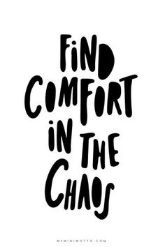 find comfort in the chaos