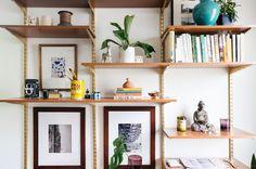 diy midcentury desk wall unit — old brand new Track Shelving, Wall Shelving Units, Wall Shelves, Office Shelving, Modular Shelving, Wall Units, Tv Units, Corner Shelves, Mid Century Wall Unit