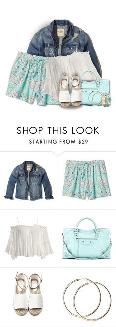 """""""Floral Poplin Shorts"""" by colierollers ❤ liked on Polyvore featuring Hollister Co., Sans Souci, Balenciaga and MANGO"""