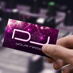 Dj cassette tape business card template writing creativity music dj shiny pink glitter business card colourmoves