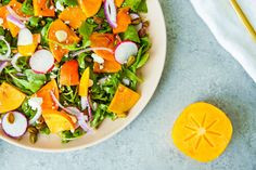 Persimmon & Feta Salad Feta Salad, Caprese Salad, Cobb Salad, Persimmon Recipes, Large Plates, Salad Ingredients, Creative People, Food And Drink, Meals
