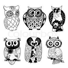 Cool Cartoon Owls Clip Art   Stock vektor af 'Indsamling af seks forskellige ugler'