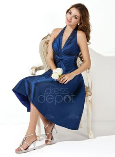 A dress that will stand out and keep you in the spot light on that special night! Only $92.99! A-Line/Princess Halter Knee-Length Taffeta Bridesmaid Dress With Ruffle Bow(s) (007000860) http://www.dressdepot.com/A-Line-Princess-Halter-Knee-Length-Taffeta-Bridesmaid-Dress-With-Ruffle-Bow-S-007000860-g860?utm_source=Pinterest&utm_campaign=xh Bridesmaid Dress Bridesmaid Dresses #BridesmaidDress #BridesmaidDresses