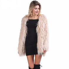 Brand Name: SIMPLEE Material: Faux Fur Sleeve Length: Full Clothing Length: Regular Collar: V-Neck Closure Type: Covered Button Sleeve Style: Regular Type: Wide-waisted Craft\Technics: Natural Color S
