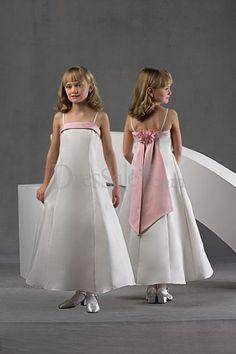 A-Line Ankel-length Satin Flower Girls Dresses Prom Party Dresses, Occasion Dresses, Bridal Dresses, Bridesmaid Dresses, Flowergirl Dress, Bridesmaids, Flower Girls, Cute Flower Girl Dresses, Robes D'occasion