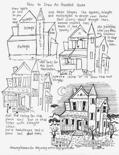 How to draw a haunted house worksheet. see more at my blog: http://drawinglessonsfortheyoungartist.blogspot.com/