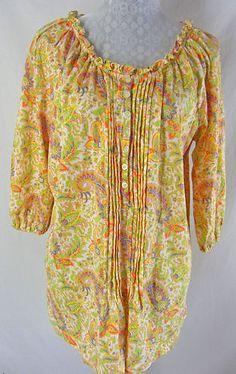 RALPH LAUREN 1X Floral Paisley Print Multi Color Pleated Front Shirt Top Cotton