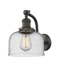 Innovations Lighting Large Bell Oiled Rubbed Bronze One Light Wall Sconce With Seedy Dome Glass 515 Ob Bathroom Sconces, Wall Sconce Lighting, Wall Sconces, Bathroom Lighting, Bathrooms, Vintage Led Bulbs, Dimmable Light Bulbs, Light Fixture, Led Fluorescent