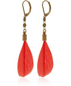 Isabel Marant Red Raya Feather Earrings | Jewellery by Isabel Marant | Liberty.co.uk
