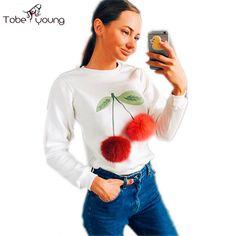 2016 New Cute Pompoms Cherry Women Hoodies White Sweatshirt Pullovers Long Sleeve Slim Casual Tops Blusas Fashion Lady Femininas