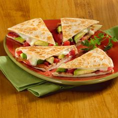 Bacon, avocado & tomato quesadilla.