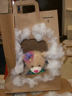 Large paper bag bear cave