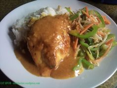 Chicken breast in curry sauce with stir fry bell pepper and bean sprouts