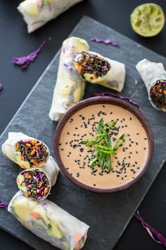Sweet Potato-Black Bean Pasta Summer Rolls with Coconut-Lime Tahini Sauce #recipe #vegan #healthy