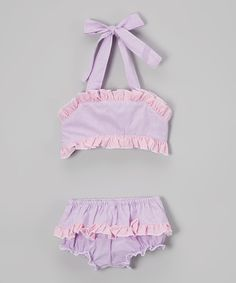 Look at this Sweet Dreams Pink & Purple Stripe Bikini - Infant, Toddler & Girls on #zulily today!