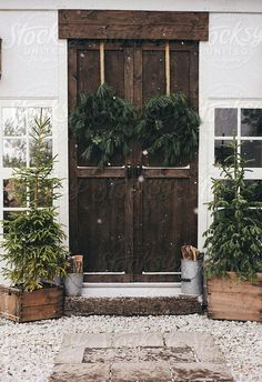 trees and wreaths... front door style